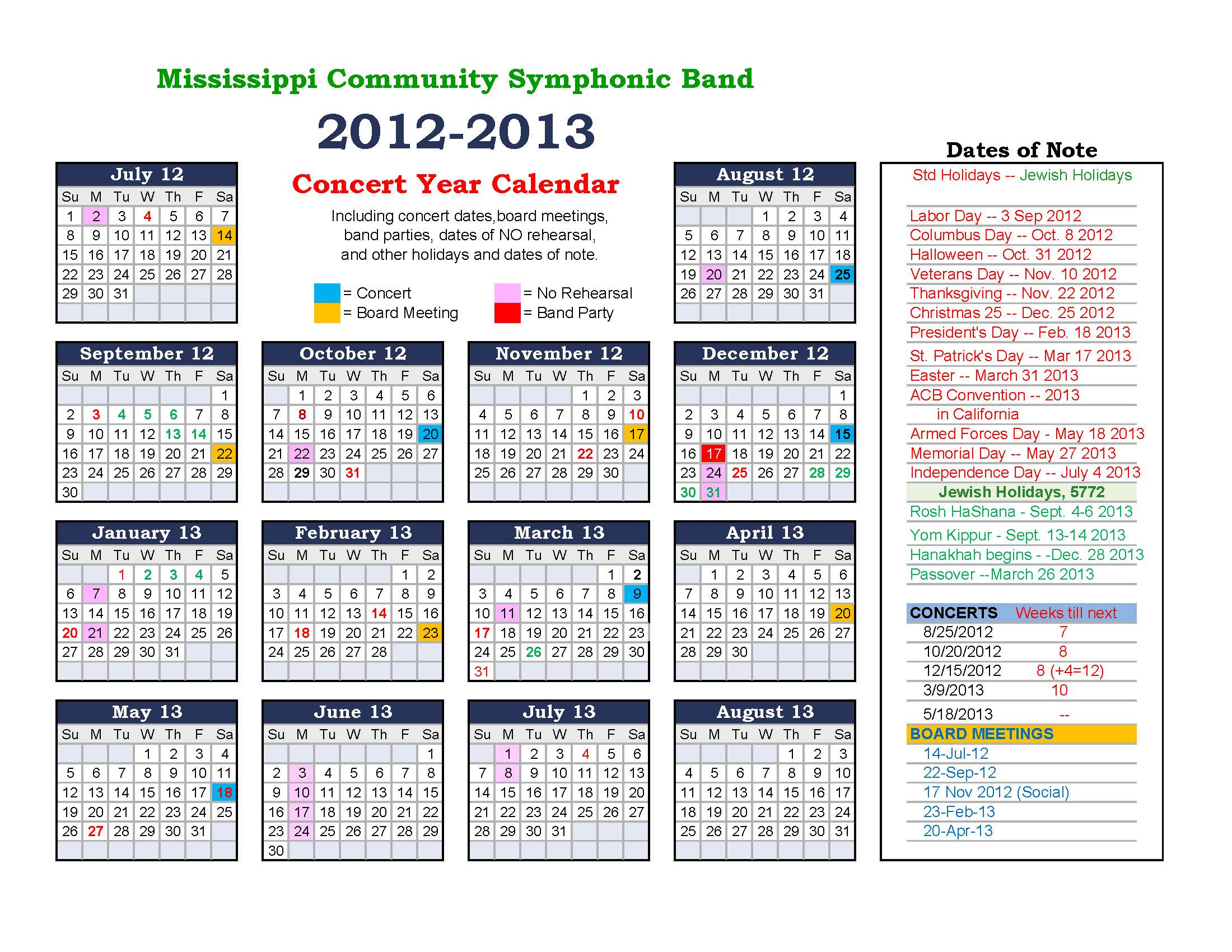 Year Calendar History : Concert history of mcsb